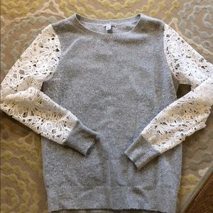 Halogen lace sleeve sweater